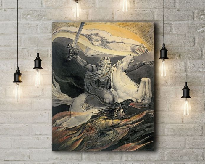 William Blake: Death on a Pale Horse. Mythological Fine Art Canvas.